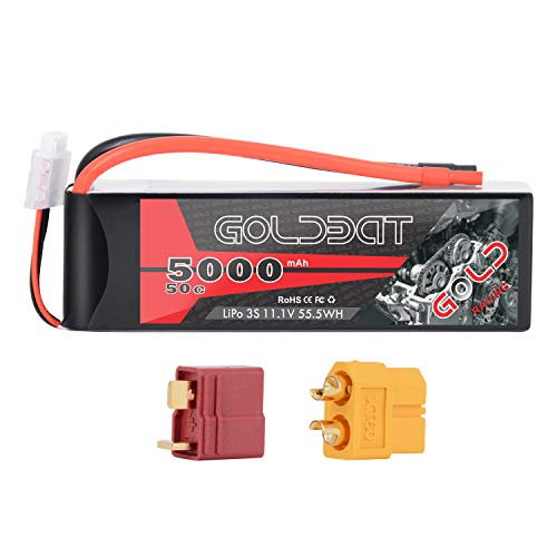 GOLDBAT 5000mAh 3S 11.1V 50C LiPo RC Battery Soft Pack with XT60 and Deans Connector for RC Car Truck Buggy Truggy RC Quadcopter Airplane Helicopter Boat