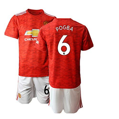 JEEG 20/21 Kinder Pogba 6# Fußball Trikot Jugend Trainings Anzug T-Shirt Set (Kinder Größe 4-13 Jahre) (24)