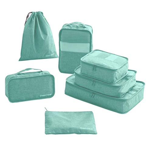 Janvio 7 Set Packing Cubes, Travel Storage Organizer Bags for Travel Accessories Packing (Blue)