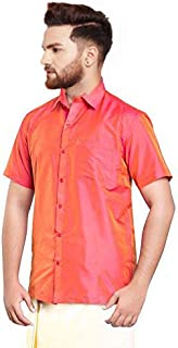 SJS-Men's Half Sleeve Solid Art Silk Shirt (Orange Pink, 36)