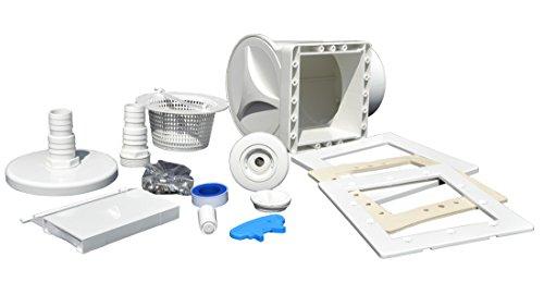Well Solutions® Skimmer Set mit Einströmdüse, Saugplatte, Rahmenblenden, Lippendichtung, Schlauchtülle und Allen Dichtungen | Skimmer Stahlwand Pool