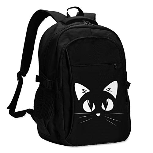 High Capacity Travel Laptop Water Resistant Anti-Theft Backpacks with USB Charging Port and Lock for Men Women College School Student Casual Hiking W/Print Black Cat Pattern