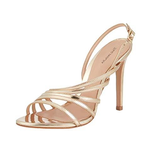 MGW Damen Peep Toe Schuhe Sexy High Heel Sandaletten Stiletto Riemchensandalen Party High Heel Sandalen Hochzeits Schuhe Perfekt für Dating, Soiree, Night Club,Gold,US7/EU37/UK4