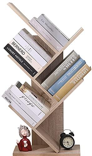 Etnicart Libreria ad Albero Moderna Rovere autoportante Libri CD salvaspazio Legno MDF portaoggetti scaffali Comodino 40x20x77 scaffale Design Ufficio Ingresso Soggiorno