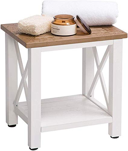Shower Bench Waterproof - Bathroom Stool with Storage Shelf - Wood Style Bathroom Bench - Small Shower Stool for Shaving Legs - Non-Slip Adjustable Feet - Shower Seat Doubles as a Corner Shower Stool