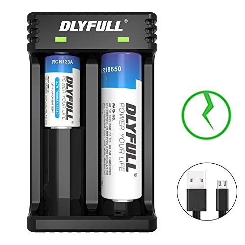 Dlyfull Universal Intelligent USB Dual Battery Charger for IMR/ICR Li-ion 18650 18500 18350 26650...
