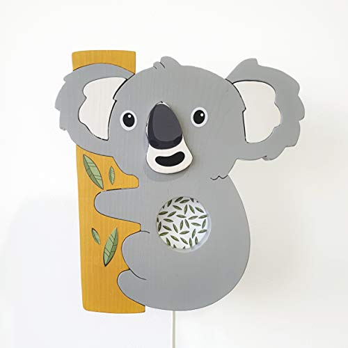 Clevere Kids Kinder Wandlampe Alle Meine Tiere Holz Handarbeit A++ (Koala)