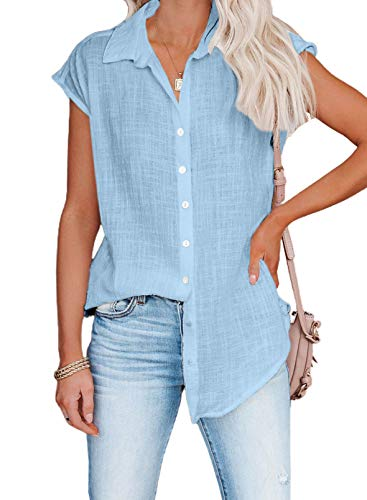 Dokotoo Sexy Blouses for Women Summer Short Sleeve Casual V Neck Solid Color Womens Blouses & Button-Down Shirts Business Fashion Chiffon Shirts and Tops Sky Blue Medium