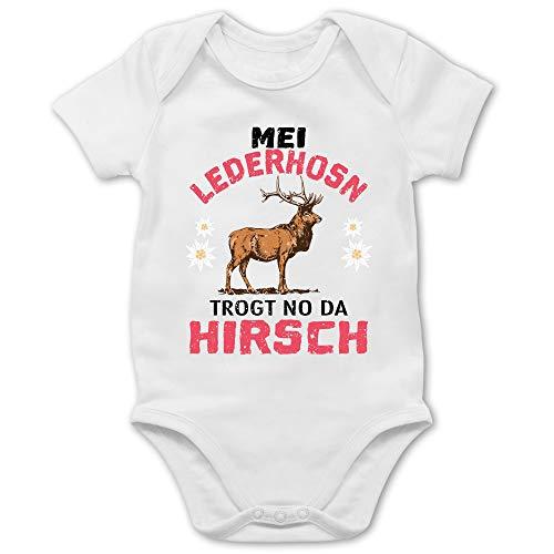 Shirtracer Oktoberfest & Wiesn Baby - MEI Lederhosn trogt no da Hirsch - schwarz/rot - 12/18 Monate - Weiß - Hirsch - BZ10 - Baby Body Kurzarm für Jungen und Mädchen