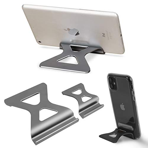 Tablet Stand Holder Low Profile Aluminum Desktop Dock Compatible with Tablet Such as iPad Pro 9.7, 10.5, 12.9 Air Mini 4 3 2, Kindle, Nexus, Tab, E-Reader (4-13') - Space Grey (Combo)