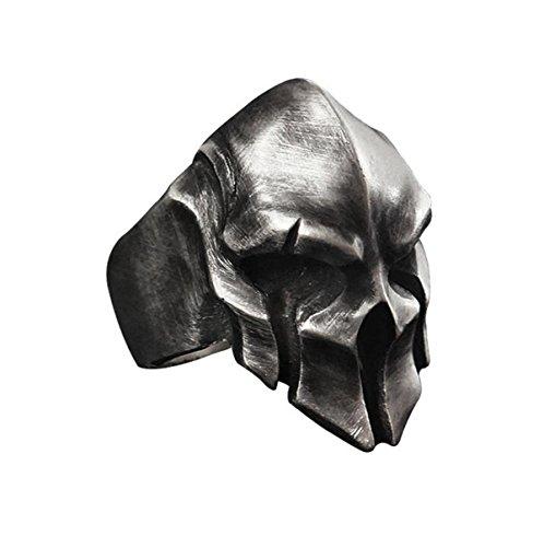 W WOOGGE Mens Gothic Biker Punk Vintage Ring Spartan Mask Helmet Nordic Pagan Adjustable Viking Rings