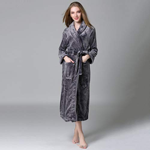 ZSQAW Winter Dicke warme weibliche Korallen Fleece Kimono Robe Liebhaber Paar Nachthemd Bad Kleid Nachtwäsche Große Nachtwäsche (Color : E, Size : X-Large)