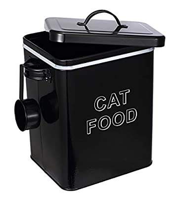 Pethiy Cat Food and Treats Containers Set with Scoop for Cats or Dogs -Tight Fitting Wood Lids - Coated Carbon Steel - Storage Canister Tins-Cat-Black