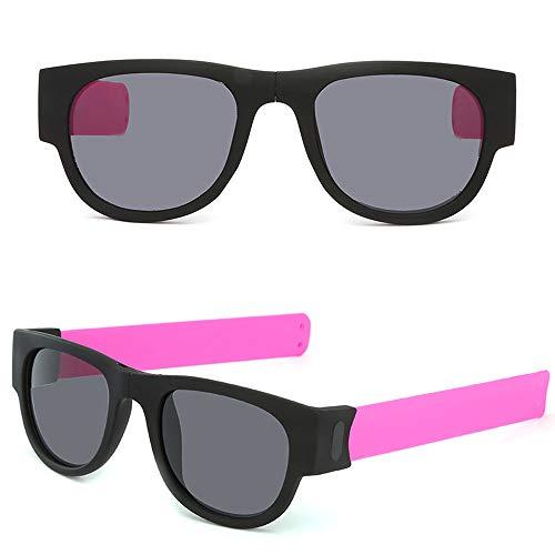 AmyGline Faltende Sonnenbrille Armband Frosch Spiegel Reit Handgelenk Kreatives Armband Brille Polarisierte Sonnenbrille Schutzbrille Snap Armband für Herren und Damen (Pink)