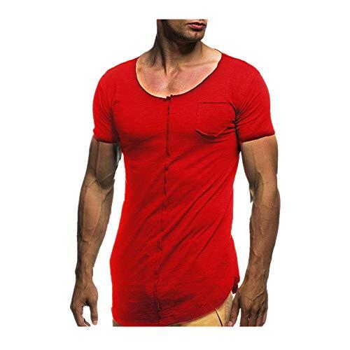 OSYARD Herren Männer Sommer T-Shirt Top Bluse,Männer Mode Persönlichkeit Streetwear Casual Slim Kurzarm Hemd Tunika Top Bluse TascheRundhals Große Größe OberteileLose Sweatshirts