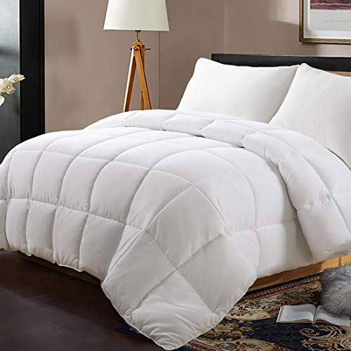 EDILLY Luxury Down Alternative Quilted King Comforter-Stand Alone Comforter for King Size Bed,Year Round Duvet Insert with 4 Corner Tabs,90''x 102'',White Pro