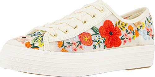 Keds Women's Triple Kick Embroidered Mesh Sneakers, White Multi, 7.5 Medium US