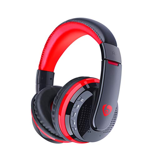 R Star MX666 Bluetooth Headphone Bluetooth Wireless Gaming Headset with 3.5mm Wired Mode Noise Cancellation HiFi Stereo Sound Mic Deep Bass Protein Earpad Over Ear Headset Black&Red