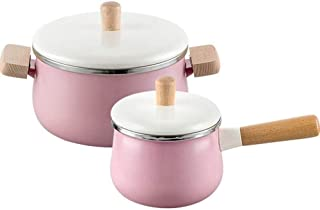 Casserole Dish Terracotta Cookware Enamel Two-Ear Soup Pot Two-Piece Household Wooden Handle Non-Stick Baby Food Pot Baby ...