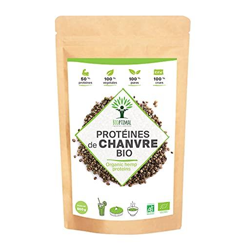 Protéine de Chanvre Bio - Bioptimal - 50% de Protéines - BCAA Oméga 3 Fibres - Poudre de Graine de Chanvre Crue - Cultivé en Europe - 100% Pur - Conditionné en France - Certifié par Ecocert - 500 g