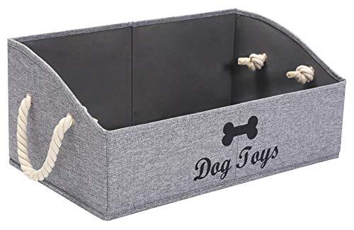 Morezi Cesta organizadora de lona para juguetes y accesorios para mascotas, ideal para organizar juguetes de mascotas, mantas, correas y alimentos, color gris nieve, rectangular, para perros