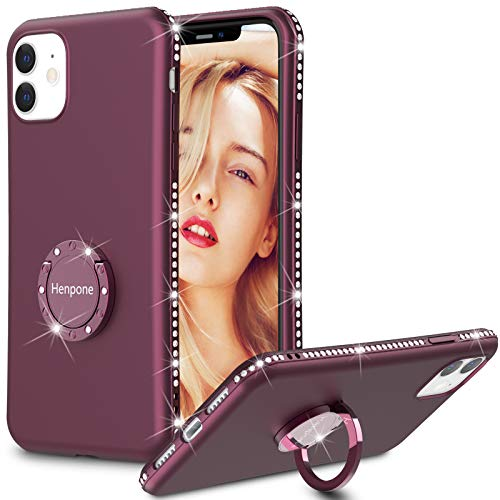 iPhone 11 Case, Henpone Women Girls Cover with Kickstand Ring Holder Flash Rhinestone Diamond Sparkle Bling Glitter Cute Case for Apple iPhone 11 6.1 inch 2019 - Deep Purple