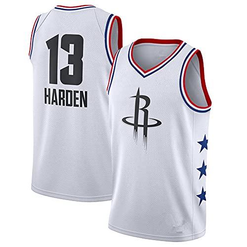 Camiseta NBA Rockets No. 13 Jersey Summer White Chaleco Casual Unisex de Manga Corta, XXL