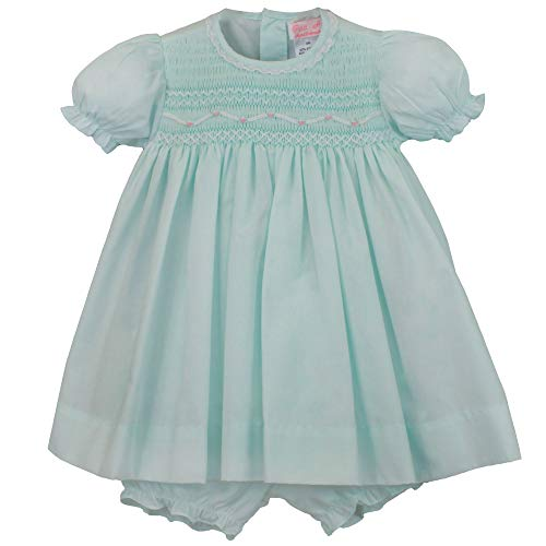 Petit Ami Baby Girls' Fully Smocked Dress with Lace Trim, 18 Months, Mint