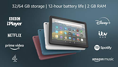"""Fire HD 8 Tablet, 8"""" HD display, 32 GB, Black - with Ads, designed for portable entertainment"""