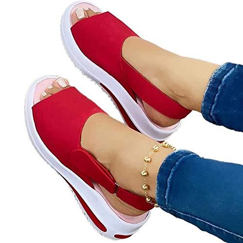 Zapatilla para mujer, sandalias ortopédicas de punta abierta premium para mujer, antideslizantes vintage, transpirables para el verano,Rojo,41 EU