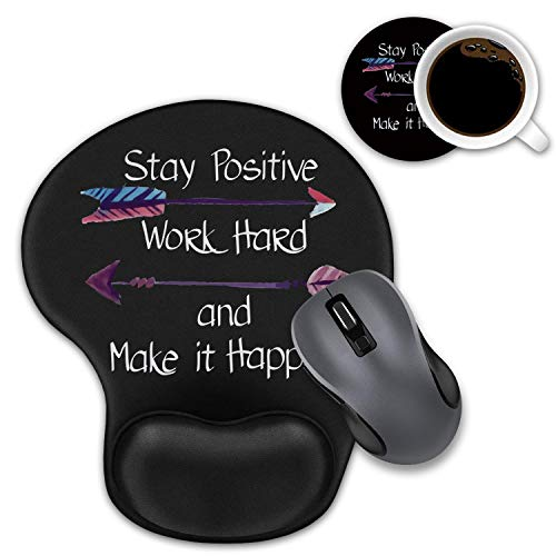 Ergonomic Mouse Pad Wrist Support with Coasters Set, Non-Slip Rubber Base for Home Office Working Studying Easy Typing & Pain Relief, Stay Positive Work Hard and Make It Happen Inspirational Quote