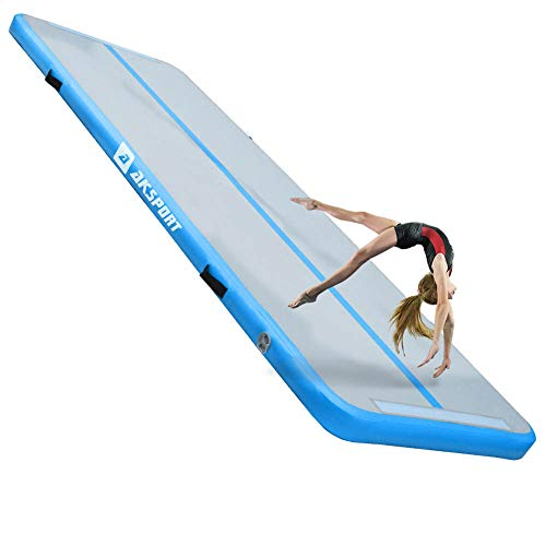 Air Track Gymnastics Tumbling Mat Inflatable Floor Mats with Electric Air Pump for Home Use/Tumble/Gym/Training/Cheerleading/Parkour/Beach/Park/Water 10/13/16/20/23/26/29/33ft (Light Blue, 9.84ft)