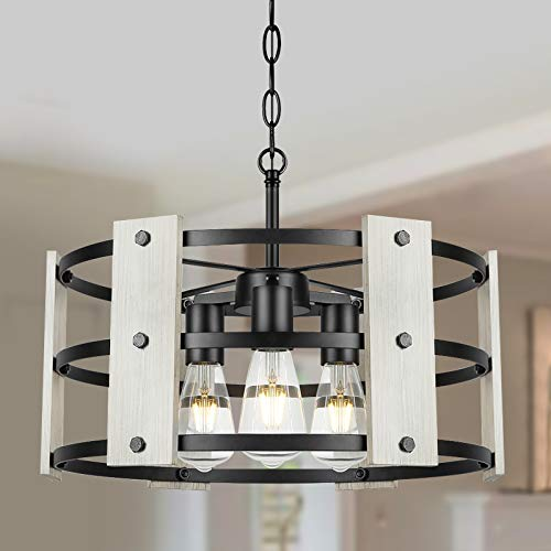 Derksic 3-Light Farmhouse Chandelier White Drum Chandelier in Wood and Metal Round Shade for Living Room Dining Room Kitchen Island Foyers