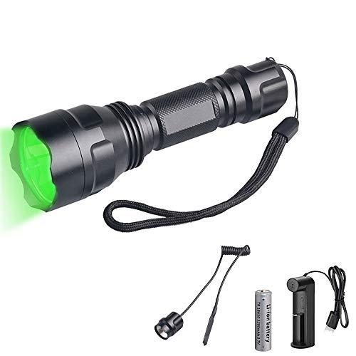 Linterna Luz Verde de Caza, WESLITE 1200 Lúmenes Linterna de Caza Verde 1 Modo Linternas Táctica LED Recargable Verde Impermeable con Interruptor de Presión y Cargador de Batería para Caza Nocturna