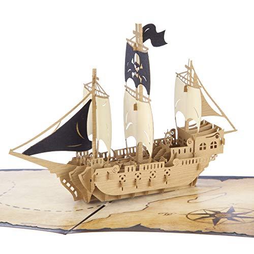 3D Verjaardagskaarten voor Jongens - Pirate Ship Pop Up Card, Pirate Party Uitnodigingen, Handgemaakte Kaarten door Cardology