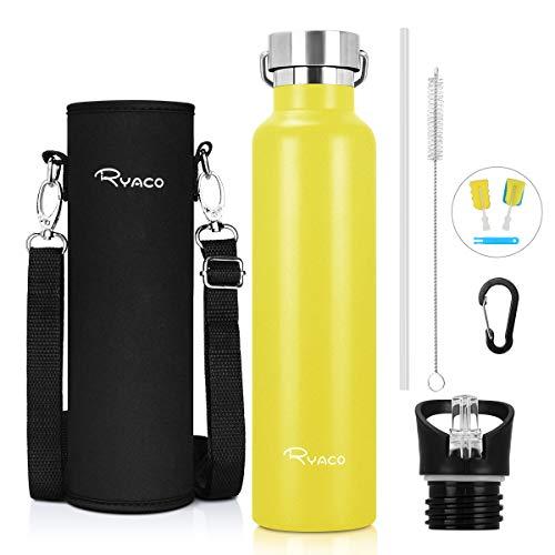Ryaco Trinkflasche Edelstahl Wasserflasche 750ml, Vakuum-Isolierte BPA-frei auslaufsicher Thermosflasche, 24 Std Kühlen & 12 Std Warmhalten, Inklusive 2 austauschbare Kappen (Gelb, 750ml)