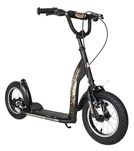 BIKESTAR Roller Kinderroller Tretroller Kickscooter mit Luftreifen für Jungen und Mädchen ab 6-7 Jahre | 12 Zoll Sport Kinder Scooter | Schwarz