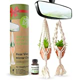 Rear View Mirror Accessories For Women - 2 Pcs Cute Car Accessories For Women Interior Cute Set - Car Mirror Hanging Accessories - Boho Car Accessories Cute with Fake Plants and Essential Oil Included