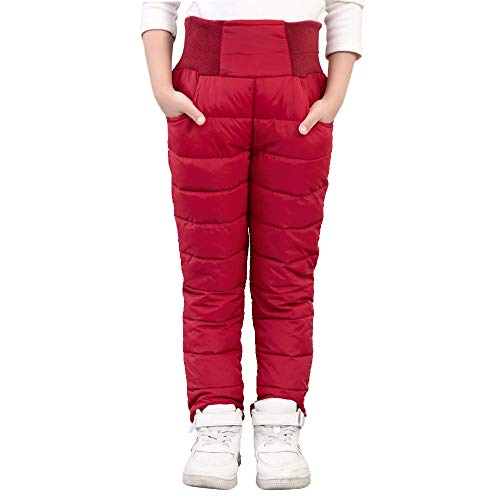 UGREVZ Girls Boys Snow Pants 2-9 Years Old Thick Winter Warm Pants Girl Activewear Clothes(A0001Red-8)
