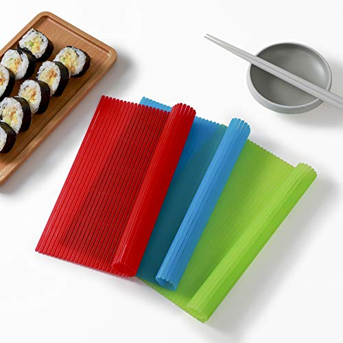 QFFQ Sushi Rolling Mat, Premium Plastic Nonstick Sushi Making Kit with 3 Pieces Sushi Mat Kitchen Homemade DIY Sushi Plate BPA Free Durable Red Green Blue three-colour