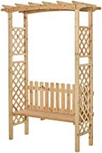 Outsunny Outdoor Garden Bench Arch Pergola with Natural Fir Wood Build, Protective Varnish, & 2 Person Ergonomic Bench