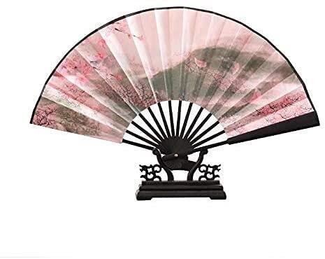 QXYMY 2 PC Estilo Chino Gran Ventilador Plegable, Tela de Seda de Madera de bambú, Ventilador de Mano de Alta definición, decoración de Boda Regalo Personalizado Plegable (Color : 5)