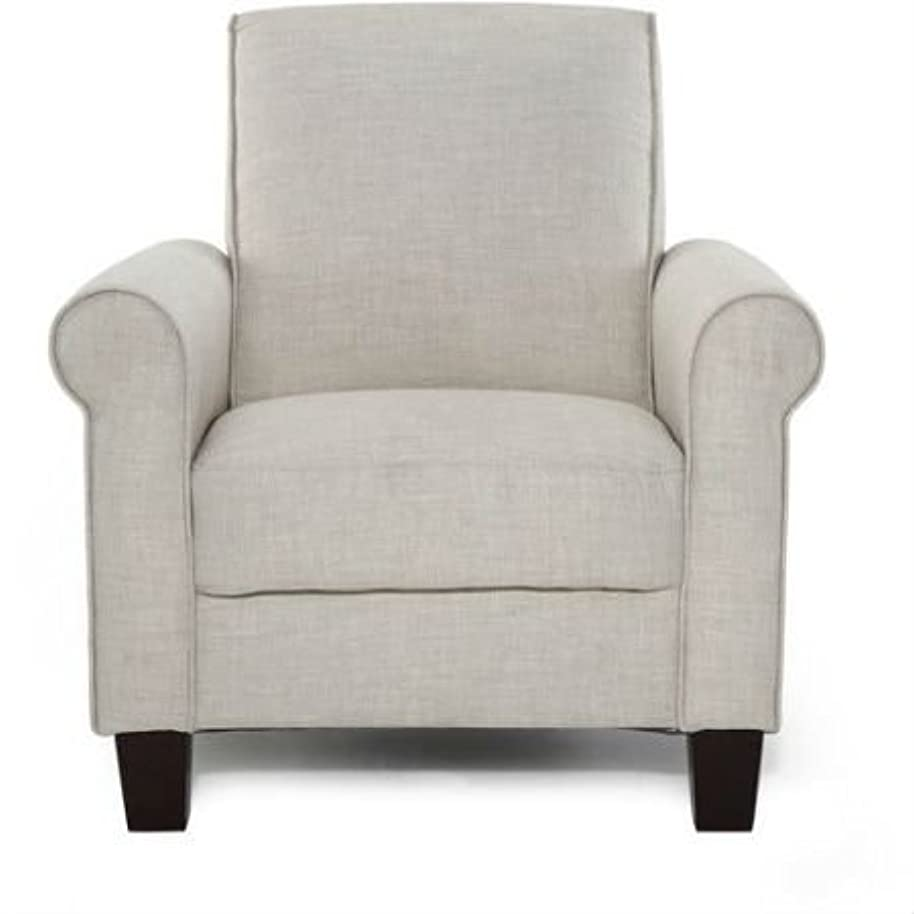 Swag Pads Taupe Tan Linen Upholstered American Style Living Room Arm Chair