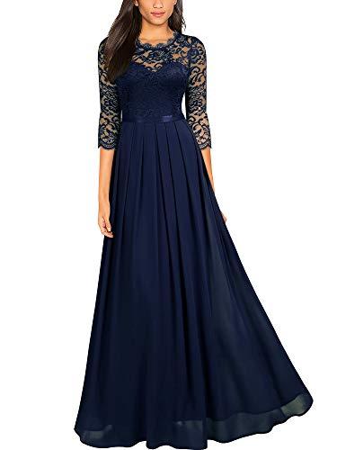 MIUSOL Pizzo Chiffon Vestito de Cerimonia Donna Lunghe Blu Large