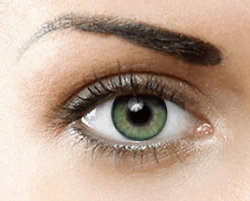 PHANTASY Eyes® HOLLYWOOD Farbige Kontaktlinsen natürliche (JADEGRÜN) ohne Stärke,1 paar, (2 Stücke) Jahreslinsen + gratis Kontaktlinsenbehälter.