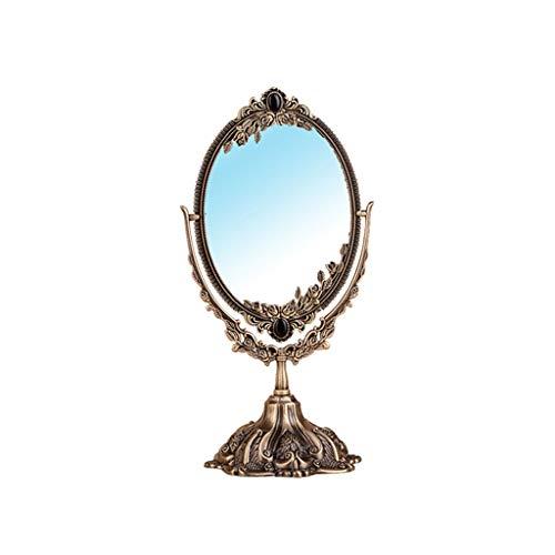 Q-HL Klassischer Make-up-Spiegel, antik, geschnitzt, Doppelseitiger Spiegel, Make-up-Spiegel, Rasierspiegel, verbesserter vanillespiegel für den Badezimmertisch Pequeño B