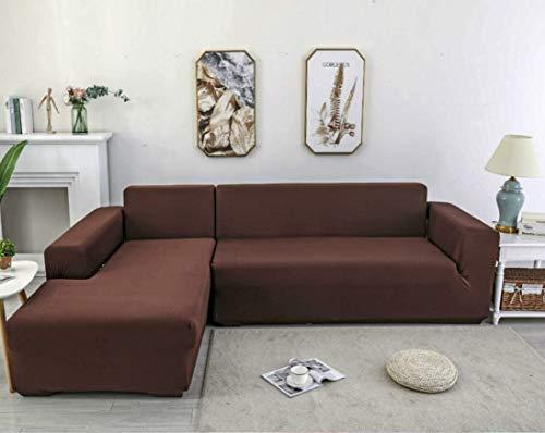 X-ZBS - Funda de sofá para sofá en forma de L elástica, funda de sofá (El sofá esquinero en L debe comprar), marrón, 3 places: 185-235cm