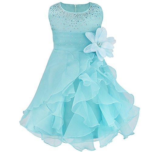 iiniim Fille Princesse Robe Bébé Cérémonie Longue Fleur en Organza sans Manches (3 Ans, Bleu)
