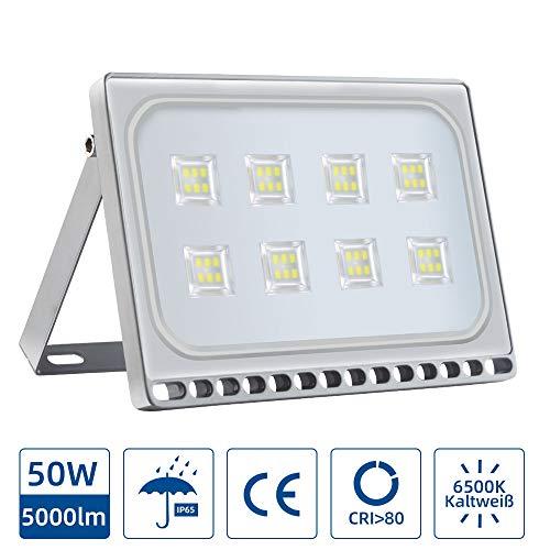 Faretto LED da 50W, Lampada LED Esterni 4000LM, Impermeabile IP 65, Super Luminosa Faretto da Giardino Garage Cortile, Terrazza, Piazza, Fabbrica(Bianco Freddo, 50W)