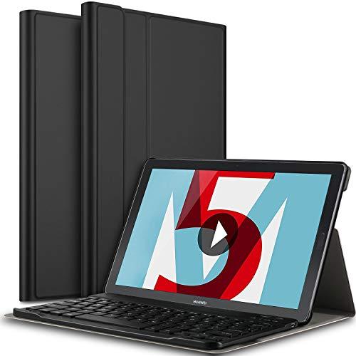 IVSO Tastatur Hülle für Huawei MediaPad M5 10.8, [QWERTZ Deutsches Layout] Keyboard Case, SmartShell Tastatur für Huawei MediaPad M5 10.8 Pro / M5 10.8 Zoll 2018 Modell, Schwarz